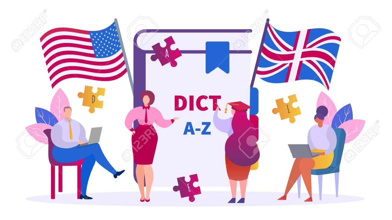 Learning English education concept, teacher and students vector isolated illustration. Class lesson in group of people studying English language. Dictionary, american and british flags, laptops.