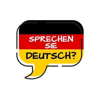 sprechen sie deutsch - do you speak german, bubble with germany flag