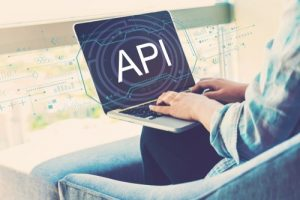 Api,Concept,With,Woman,Using,Her,Laptop,In,Her,Home