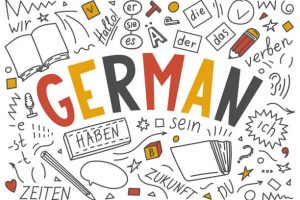 German. Hand drawn doodles and lettering. Der, die, das, er, sie, es, ich, haben, zeiten, sein, zukunft, hallo, verben, du. Translation: the, he, she, it, me, have, times, be, future, hello, verb, you